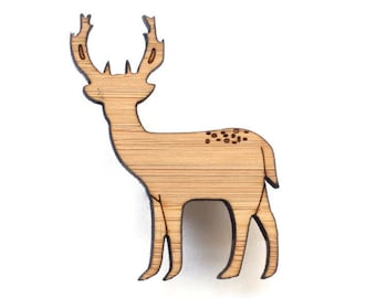 Deer brooch - stag brooch - Deer jewelry - elk jewelry - laser cut wooden jewelry