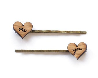 "Bobby Pins Hair Pins love heart ""you"" and ""me"" - Anniversary gift - hair accessories"