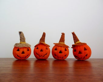 Four Flocked Halloween Jack O Lanterns Happy Pumpkin Ornaments with Witches Hat