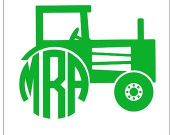 Tractor Monogram Etsy - Monogram decal for car window