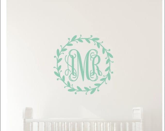 Monogram Wall Decal Twig Wreath Nursery Decal Rustic Nursery Decor Girls Nursery Bedroom Wall Decal Personalized Decal Vine Monogram Decal