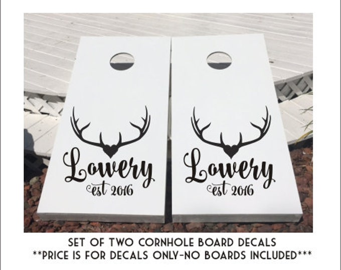 Rustic Wedding Decals Rustic Antler Decals for Cornhole Boards DIY Wedding Decals Personalized Wedding Decor Rustic Antlers Wedding Decals