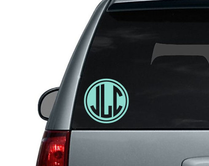 Reverse Circle Monogram Car Decal Car Decal for Women Girly Car Decal Monogram Car decal Preppy Monogram Decal Car decal for woman Car Vinyl