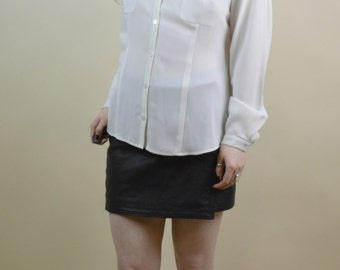 80s 90s Grunge Goth Romantic Boho White Cream Pointy Collar Button Through Front Pockets Puff Sleeve Billowy Blouse Shirt M