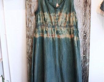 Hand dyed silk dress size M, indigo dress, women's dress, hand dyed dress, wearable art