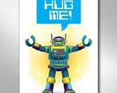 ROBOT HUG Kids Playroom Bedroom Decor Art Print 11x17 by Rob Ozborne