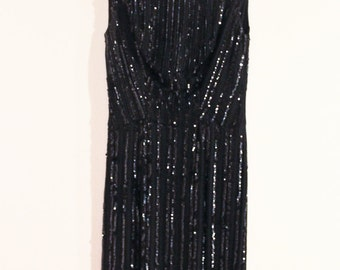 60s/70s Vintage Black Sequin Wiggle Dress