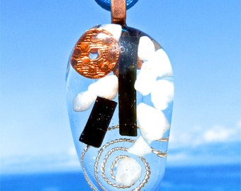 BLACK TOURMALINE and OPAL Positive Energy Orgone Pendant with Copper and Silver. Frequency-Charged Electrosmog Protection.