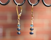 Sapphire Dainty Three Stone Leverback Earrings in 14Ktgf for Her Sept. Birthstone