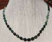 "Emerald Necklace with 14Ktgf  infinity hook clasp, beads and chain 18 1/2"" as shown adjustable up to 2 1/2"" shorter"