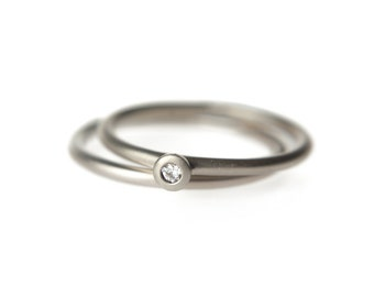 Simple engagement ring set in palladium white gold with eco friendly diamond,  14k bridal stacking set, birthstone ring