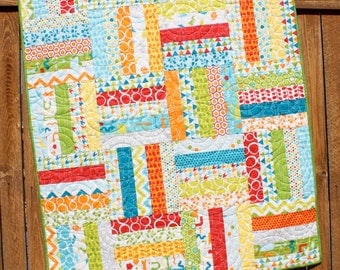 Bright Baby Boy Quilt, Mixed Bag Quilt, Primary Colors, Gender Neutral Baby Quilt, Whimsical Red, Blue, Yellow & Green Handmade Crib Bedding