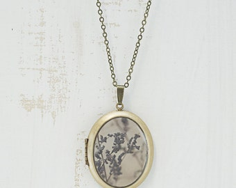 Floral Photo Locket | Art Jewelry | Purple Brown Tones Flowers Landscape Photography | Brass Oval Locket | Necklace | Pendant | Wisconsin