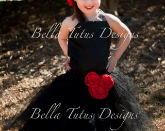 Flower Girl Tutu Dress Floor Length Sewn Tutu Dress Black and Red with Satin Corset and Satin Flower Clip 6 months-10 CUSTOMIZABLE