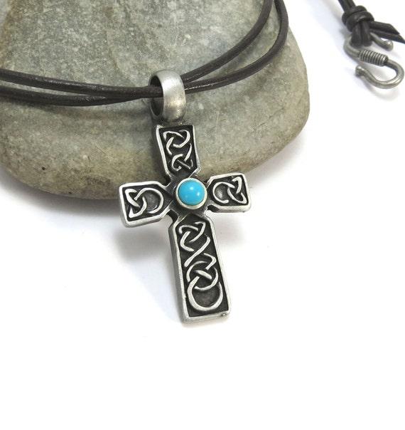 mens cross necklace celtic cross pendant turquoise blue. Black Bedroom Furniture Sets. Home Design Ideas