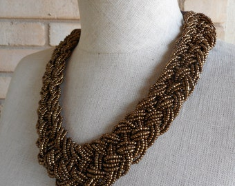 Vintage Braided Woven Beaded Brown Bronze Statement Choker Necklace 80s