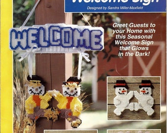 Glow in the Dark Welcome Sign Plastic Canvas Pattern The Needlecraft Shop 923344