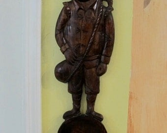 Vintage 50's hand carved Don Quixote solid wood wall hanging