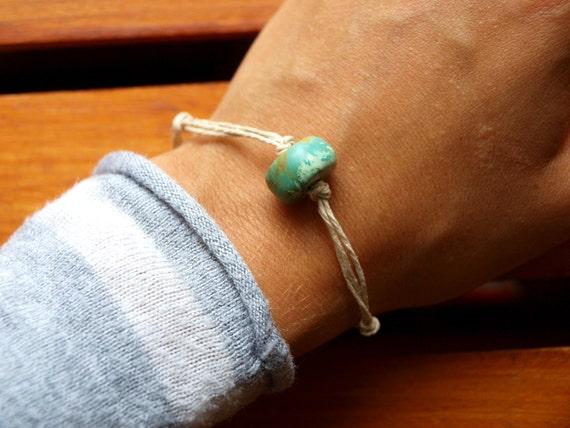 Mens Turquoise Hemp Bracelet - Stone Bead and Hand-Braided, Natural Hemp - Ecofriendly, Mens, Womans, Unisex Bracelet