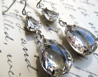 Art Nouveau Earrings Art Deco Earrings Gatsby Earrings 1920s Earrings Vintage Earrings Crystal Earrings Silver Teardrop Earrings- Dewdrops