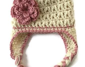 Girls Winter Hat with Flower, Girls Crochet Hat with Flower Accent, Kids Winter Hat, Kids Earflap Hat