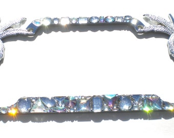 palm trees chunky custom mix ab and clear crystal rhinestone license plate frame bling sparkle diamond bedazzle