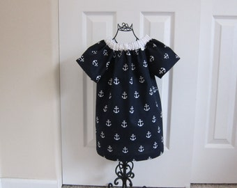 SALE  Peasant Dress  Nautical DRESS - Patriotic - Toddler Girls - 12  Months - Navy Blue and White Anchor - Summer Sun Dress - Ready to ship