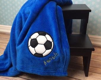 Soccer Blanket, Personalized Applique Blanket, Soccer ball Blanket, Sport Blanket, Plush Blanket, Birthday Gift, Soccer coach gift,