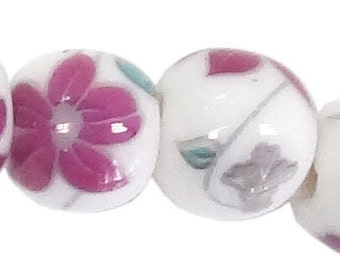 """Porcelain Beads With Flower Imprints 12mm _7.5"""" Strand (19 Beads)_ 4 Styles Available"""