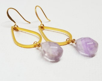 Teardrop Dangle Earring, Teardrop Earring, Lavender Amethyst Drop Earring, Amethyst Earring, Gold Dangle Earring