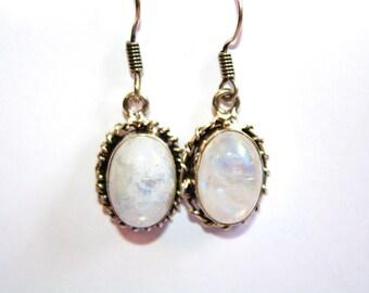 Vintage Sterling Rainbow Moonstone Dangle Earrings