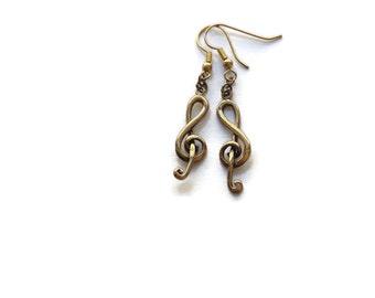 Vintage Bronze Music Note Earrings