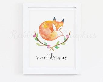 Fox Nursery Art, Woodland Nursery, Sweet Dreams, Baby Girl, Flowers, Pink, Green, Floral, Nursery Print,  Watercolor, INSTANT DOWNLOAD