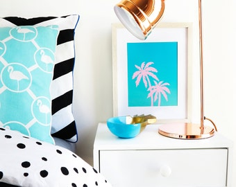 Turquoise Palm Tree Print