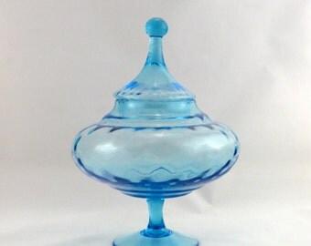 Empoli Aqua Blue Diamond Optic Glass Footed Bowl with Circus Tent Lid - Vintage  1960s - 1970s Empoli Glass