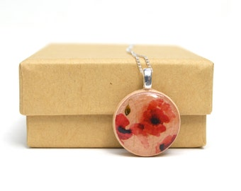 Wooden Floral red poppy necklace rustic bridesmaid gift bridesmaid jewelry wedding jewelry wood flower necklace