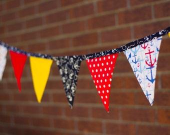 Handmade Fabric Banner / Bunting Nautical Theme Anchors