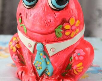 Psychodelic 1960's Neon Pink Chalkware Frog Bank