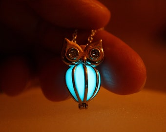 Locket OWL pendant GLOW in the DARK