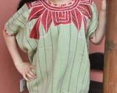 VINTAGE Guatemalan Huipil Blouse Authentic Woven Mayan Textile ~ Zunil Gypsy Boho Top Handwoven Pale Green with Red Cotton Embroidery