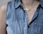 Gold Collar Necklace // Handcut Brass Semi Circle With Triangle Cut Out