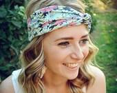Blue Daisy Turban, Twist Jersey Knit, Work Out Headband
