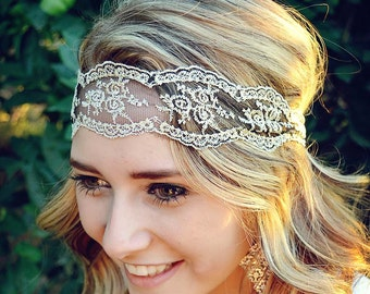 Wide Gold Lace with Sheer Black Underlay Headband