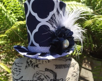 Navy Blue and White Mad Hatter Mini Top Hat for Dress Up, Birthday, Tea Party or Photo Prop