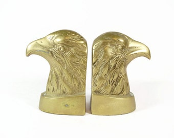 Brass Eagle Bookend Set Federal Style American Bald Eagle Bust Americana Patriotic Bookcase Decor Gold Bird Mid Century Law Office Library