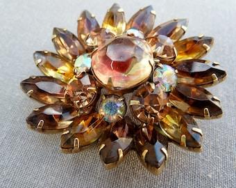 Rhinestone Kramer Brooch Brown Topaz Art Glass Vintage Designer Signed 1950s Jewelry