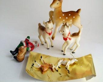 SALE Vintage Reindeer Santa Set of 6 Kurt Adler NY Japan Holiday Decor