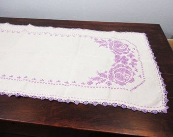 Purple Cross Stitched Embroidery on Off White Linen Dresser Runner