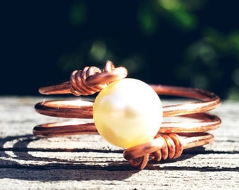 Copper and Pearl Wire Ring