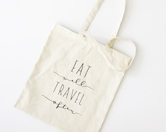 Eat Well, Travel Often. Market Tote Bag. Foodie and Travel Lover Gift. Canvas Market Bag. Food Lover Gift Idea by Milk & Honey.
